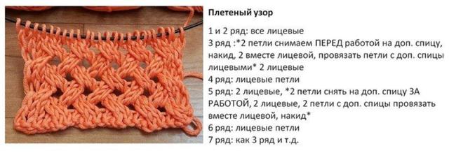 Шапка узором плетенка: схема с описанием