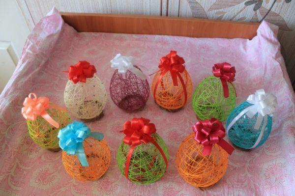 Яйца на пасху своими руками: поделка из ниток