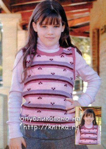 Жилет для девочки спицами: схема с описанием