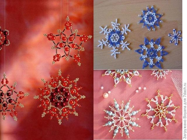 Красивые новогодние снежинки: из бумаги и из бисера