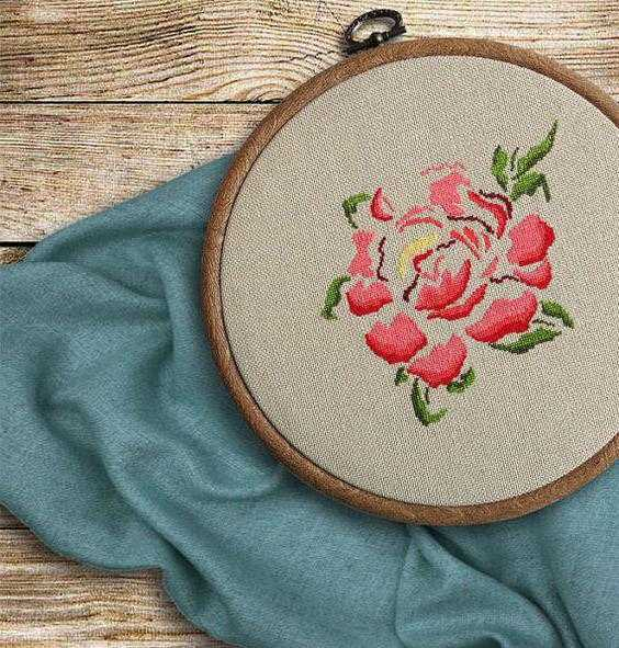 Вышивка крестом: пионы в вазе со схемой вышивки, фото и видео инструкции