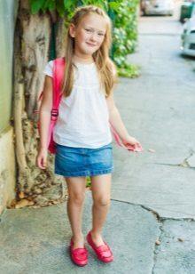 Джинсовая юбка для девочки: трапеция своими руками