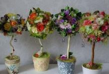 Топиарии из искусственных цветов: мастер класс с фото