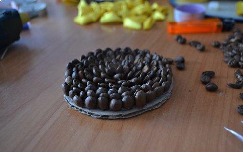 Подсолнух канзаши: мастер класс с кофейными зернами