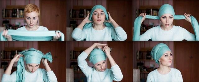 Как завязывать чалму на голове: фото в статье