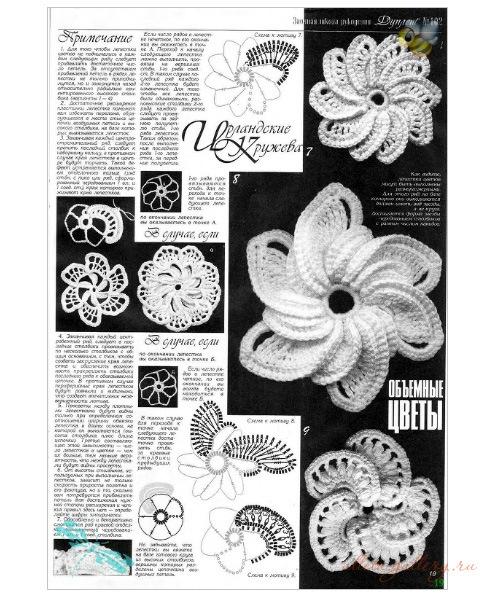 Ирландское кружево крючком: элементы вязания, схемы и фото