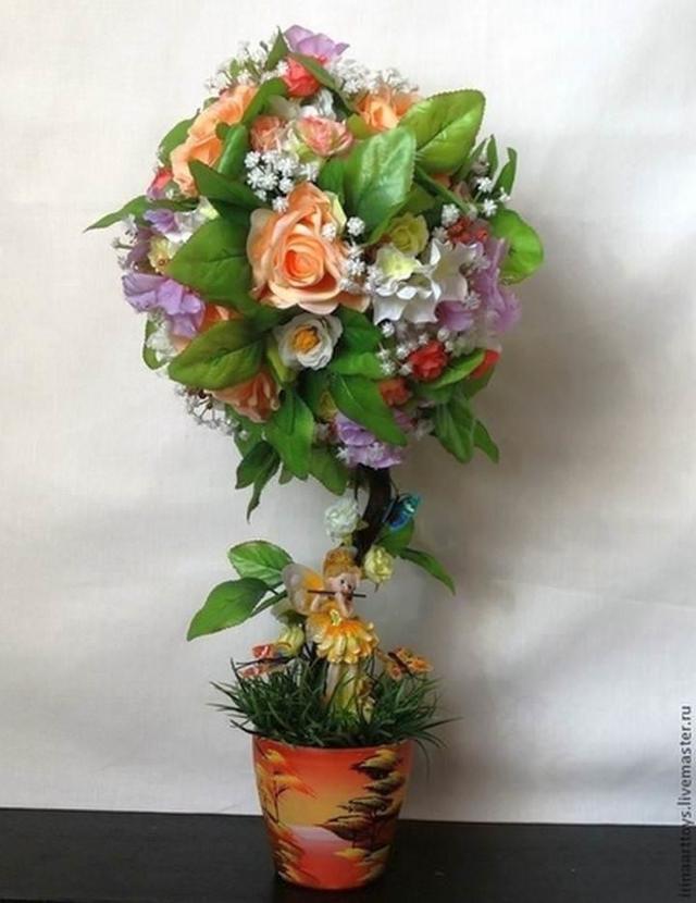Мастер класс по топиарию из искусственных цветов своими руками: видео цветов и фруктов
