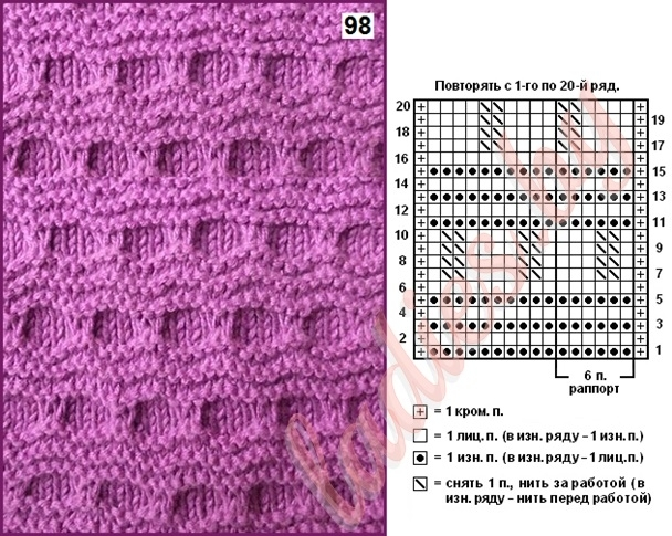 Диагональные узоры спицами: схемы с описанием