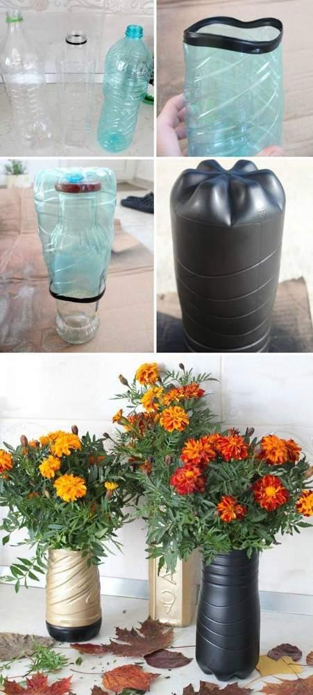 3 идеи, как сделать вазы из пластиковой бутылки