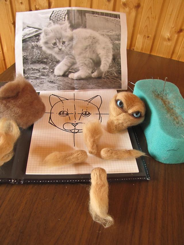 Сухое валяние котенка из шерсти - мастер-класс для начинающих